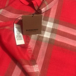 BURBERRY NEW BRIGHT RED  GIANT CHECK GAUZE SCARF